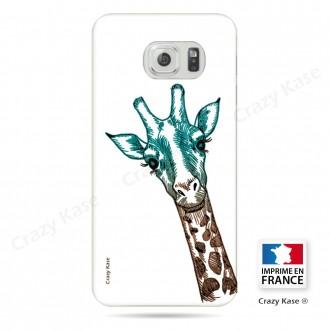 Coque Galaxy S6 souple motif Tête de Girafe sur fond blanc - Crazy Kase