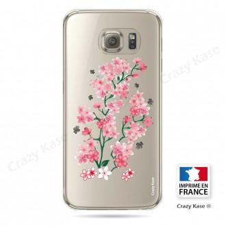 Coque Galaxy S6 Edge Transparente et souple motif Fleurs de Sakura - Crazy Kase