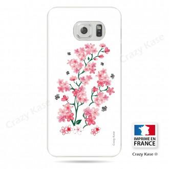 Coque Galaxy S6 Edge souple motif Fleurs de Sakura sur fond blanc - Crazy Kase