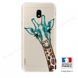 Coque Galaxy J3 (2017) Transparente et souple motif Tête de Girafe - Crazy Kase
