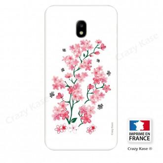 Coque Galaxy J3 (2017) souple motif Fleurs de Sakura sur fond blanc - Crazy Kase