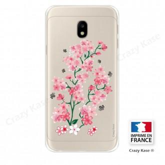 Coque Galaxy J3 (2017) Transparente et souple motif Fleurs de Sakura - Crazy Kase