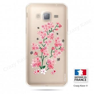Coque Galaxy J3 (2016) Transparente et souple motif Fleurs de Sakura - Crazy Kase