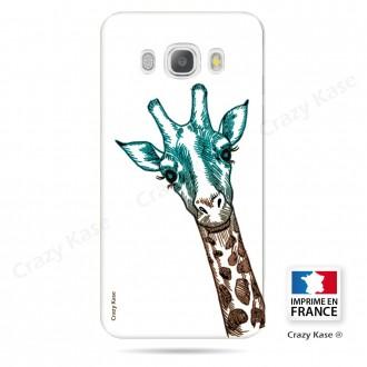 Coque Galaxy J5 (2016) souple motif Tête de Girafe sur fond blanc - Crazy Kase