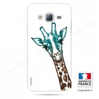 Coque Galaxy Grand Prime motif Tête de Girafe sur fond blanc - Crazy Kase
