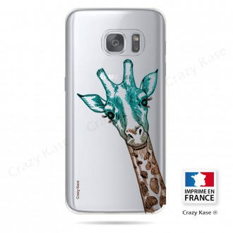 Coque Galaxy S7 Transparente et souple motif Tête de Girafe - Crazy Kase