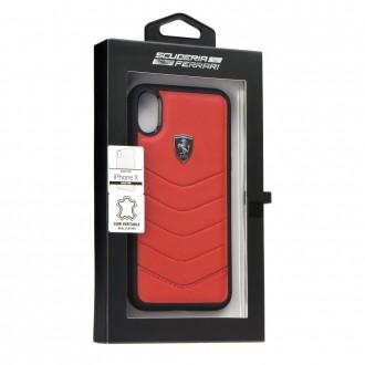 Coque iPhone X en cuir véritable rouge - Ferrari