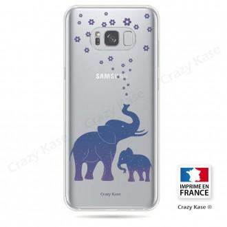 Coque Galaxy S8 Transparente et souple motif Eléphant Bleu - Crazy Kase