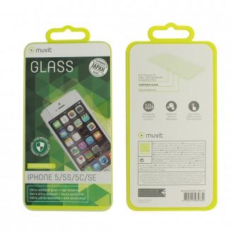 Film iPhone SE / 5C / 5S / 5 protection écran verre trempé - Muvit