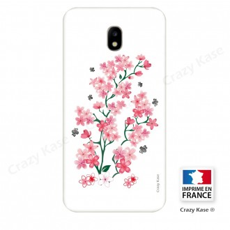 Coque Galaxy J5 (2017) souple motif Fleurs de Sakura sur fond blanc - Crazy Kase
