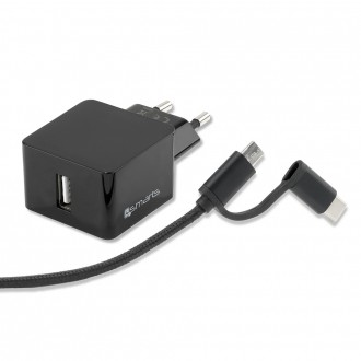 Chargeur secteur USB 12W + cable USB Type-C et micro USB 1.5 mètre noir - 4Smarts