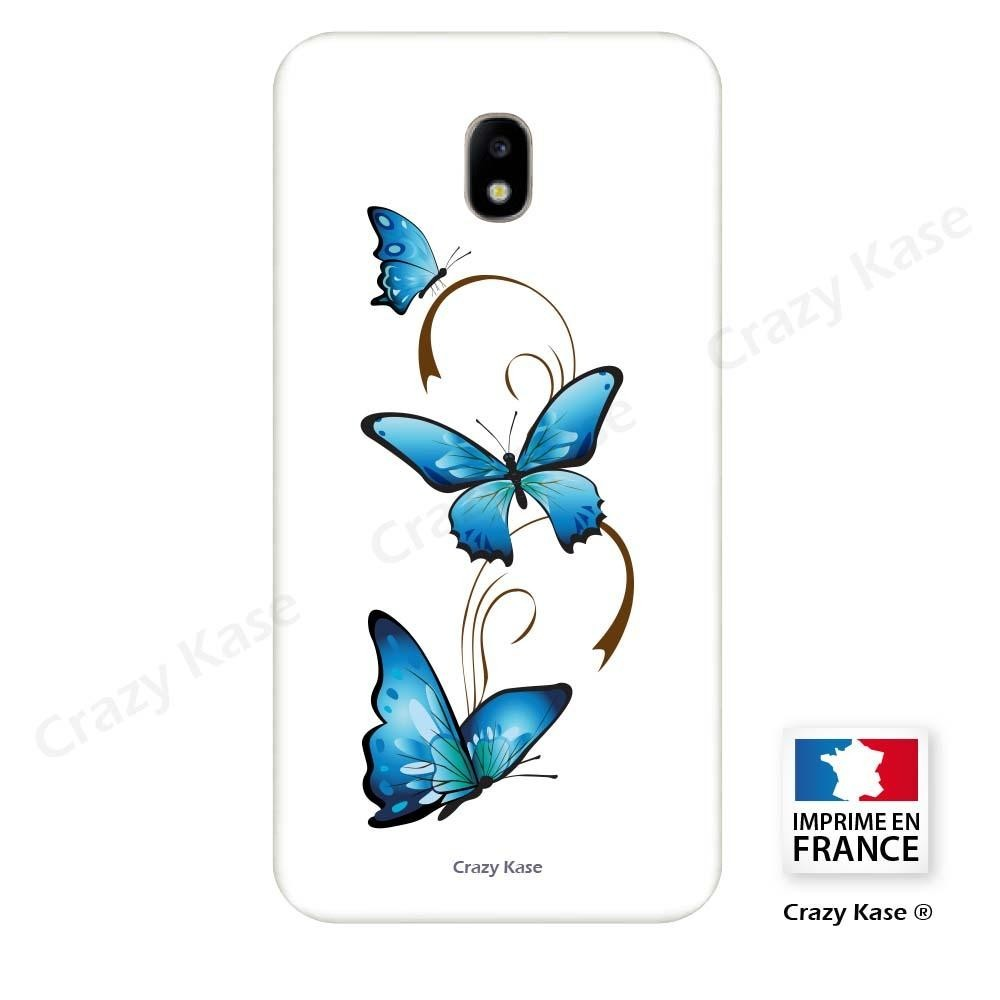 Coque Galaxy J5 (2017) souple motif Papillon et Arabesque sur fond blanc - Crazy Kase