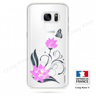 Coque Galaxy S7 Edge souple motif Fleur de lotus et papillon- Crazy Kase