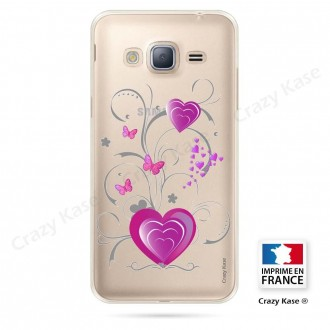 Coque Galaxy Grand Prime souple motif Cœur et papillon - Crazy Kase