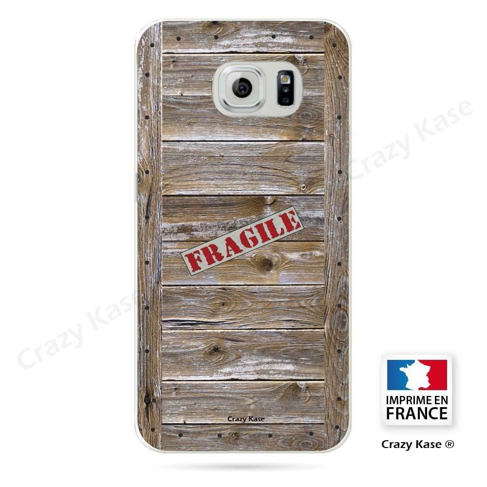 Coque Galaxy S6 Edge souple effet Caisse en bois - Crazy Kase