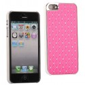 Coque plastique avec strass sur fond rose pour iPhone 5