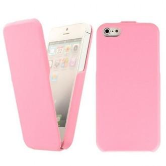 Housse simili cuir rose ouverture verticale pour iPhone 5