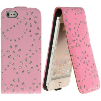 Housse cuir bling-bling strass rose clair ouverture verticale pour iPhone 5