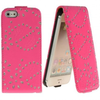 Housse cuir bling-bling strass rose ouverture verticale pour iPhone 5