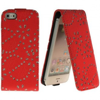 Housse cuir bling-bling strass rouge ouverture verticale pour iPhone 5