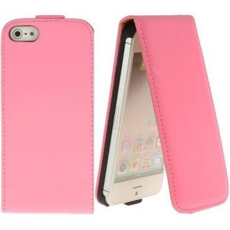 Housse cuir rose ouverture verticale pour iPhone 5