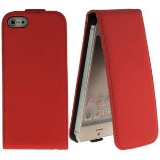 Housse cuir rouge ouverture verticale pour iPhone 5