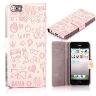 Housse cuir rose clair ouverture horizontale aimantée motif cartoon pour iPhone 5