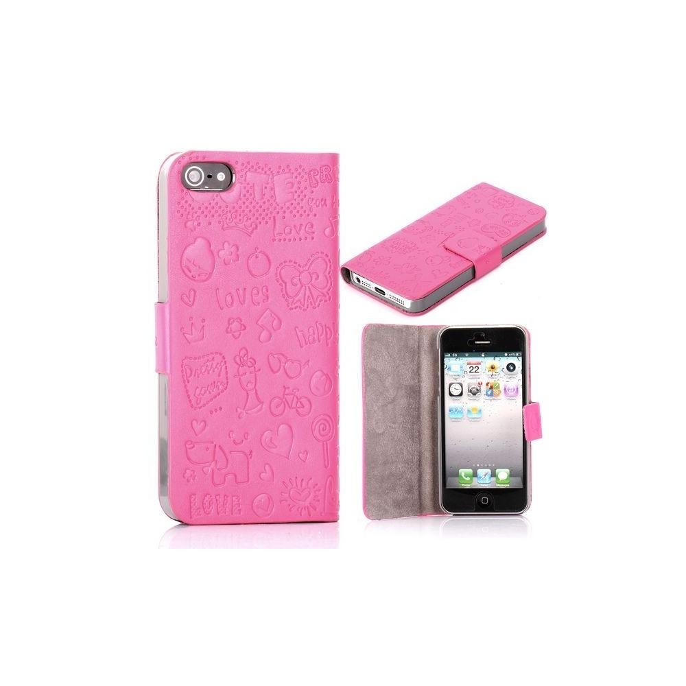 Housse cuir rose ouverture horizontale aimantée motif cartoon pour iPhone 5