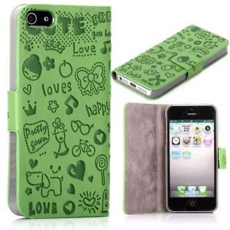 Housse cuir verte ouverture horizontale aimantée motif cartoon pour iPhone 5