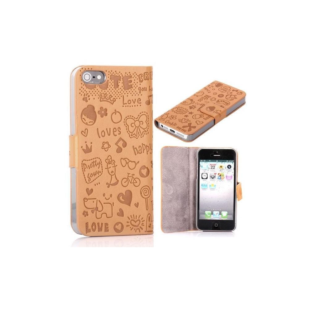 Housse cuir beige ouverture horizontale aimantée motif cartoon pour iPhone 5