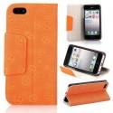 Housse cuir orange ouverture horizontale aimantée motif smiley pour iPhone 5