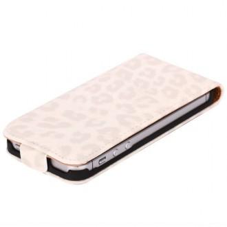 Housse luxe motif léopard blanc ouverture verticale pour iPhone 5