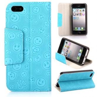 Housse cuir bleue ouverture horizontale aimantée motif smiley pour iPhone 5