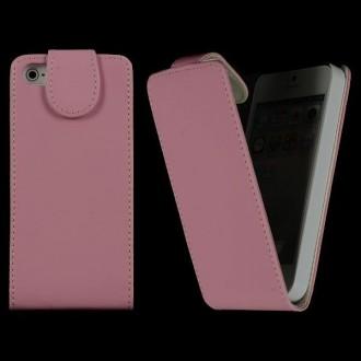 Housse cuir rose clair ouverture verticale aimantée pour iPhone 5