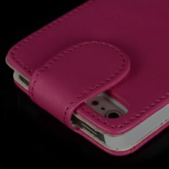 Housse cuir rose ouverture verticale aimantée pour iPhone 5