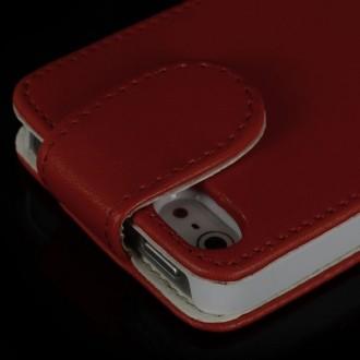 Housse cuir rouge ouverture verticale aimantée pour iPhone 5
