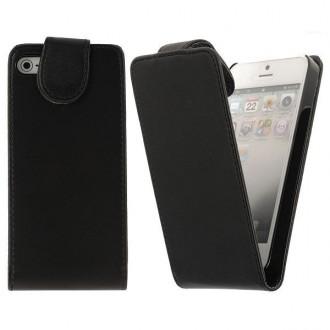 Housse cuir noire ouverture verticale aimantée pour iPhone 5