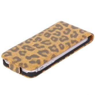 Housse luxe motif léopard marron ouverture verticale pour iPhone 5