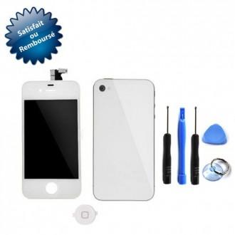 Vitre tactile pour Apple iPhone 4 blanc + écran LCD sur châssis + vitre arrière + bouton home + outils