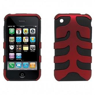 Coque iPhone 3G / 3GS bi-matière plastique et siclicone noir et rouge