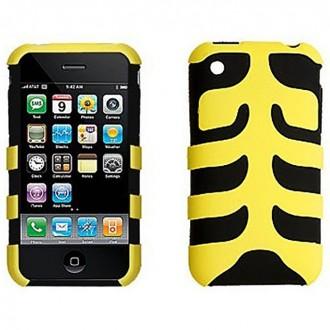 Coque iPhone 3G / 3GS bi-matière plastique et siclicone noir et jaune