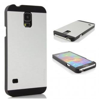 Coque plastique rigide + film pour Samsung Galaxy S5 i9600 argent