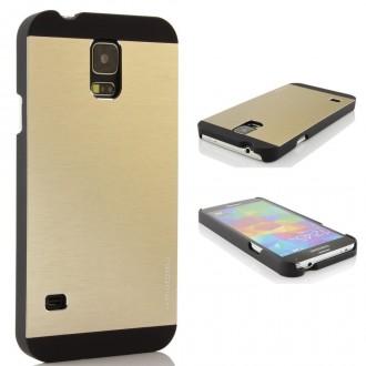 Coque plastique rigide + film pour Samsung Galaxy S5 i9600 or