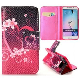 Etui Galaxy S6 Motif Coeur et Fleurs