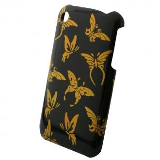 Coque iPhone 3G / 3GS Papillons dorés sur fond noir