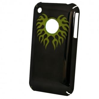 Coque iPhone 3G / 3GS Noir effet miroir logo apparent