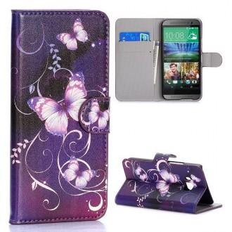 Etui HTC One M9 motif  Papillons violets