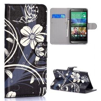 Etui HTC One M9 motif Fleurs Blanches