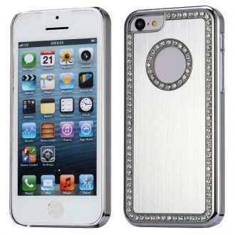 Coque iPhone 5C aluminium brossé argent et Strass