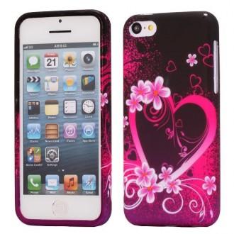 Coque iPhone 5C silicone motif Coeur et Fleurs